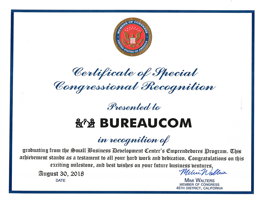 01 Bureaucom member of congress certificate bureaucom