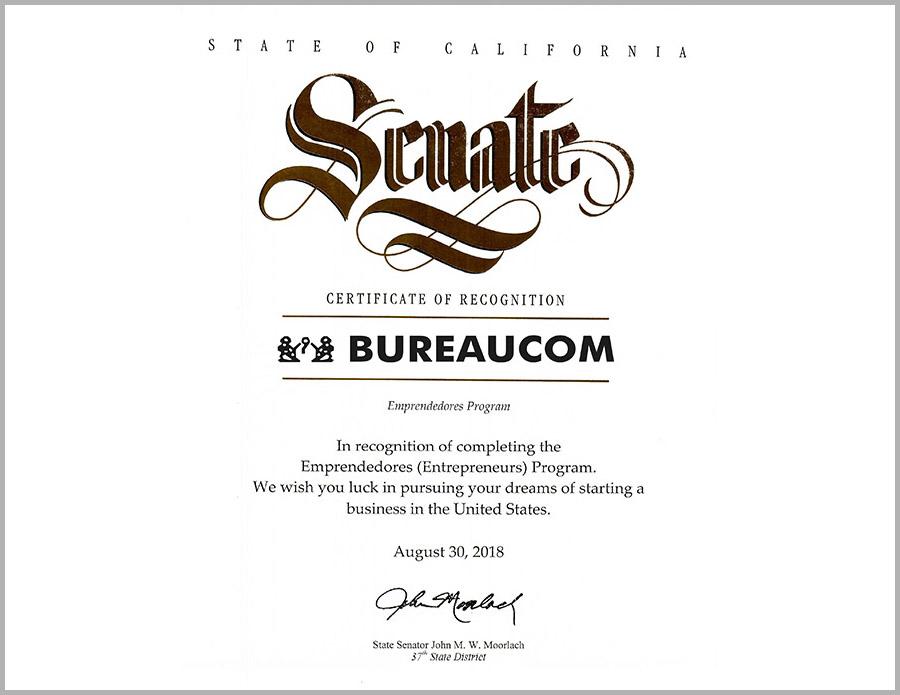 senate certificate bureaucom